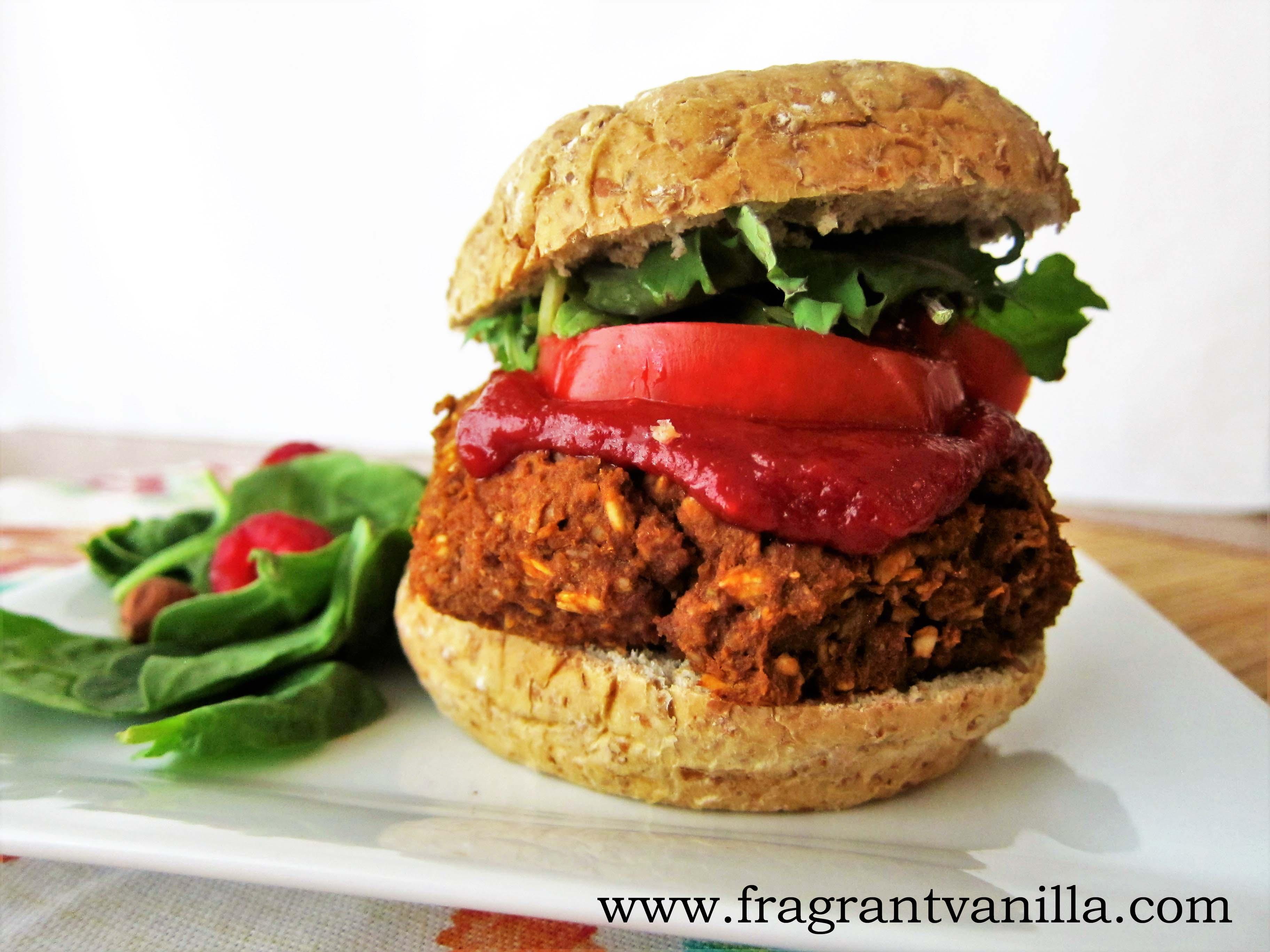 Vegan Lentil Walnut Burgers