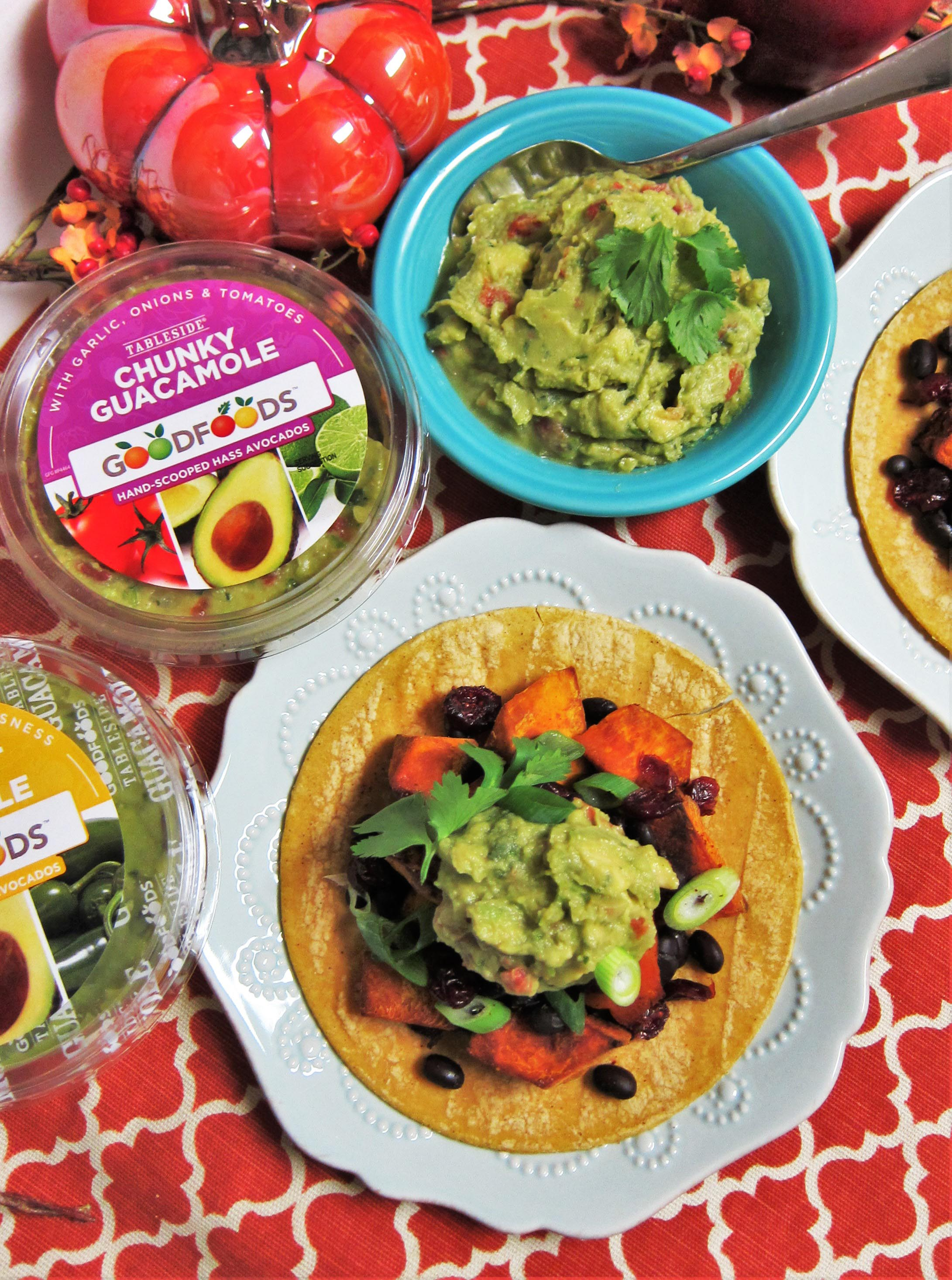 Vegan Roasted Squash Black Bean Tacos Recipe with GOODFOODS Guacamole