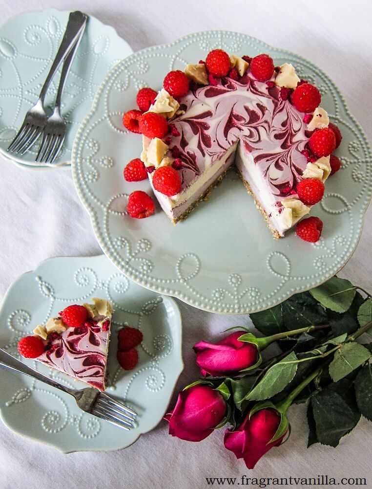 Vegan Raspberry White Chocolate Cheesecake