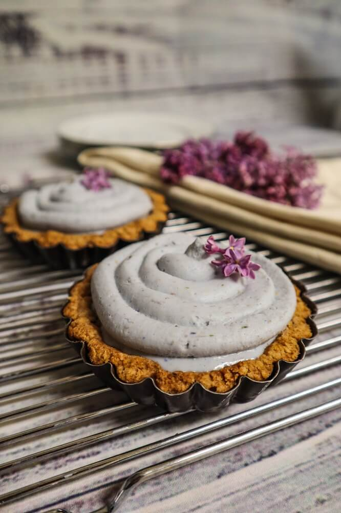 Vegan Lilac White Chocolate Mousse Tarts