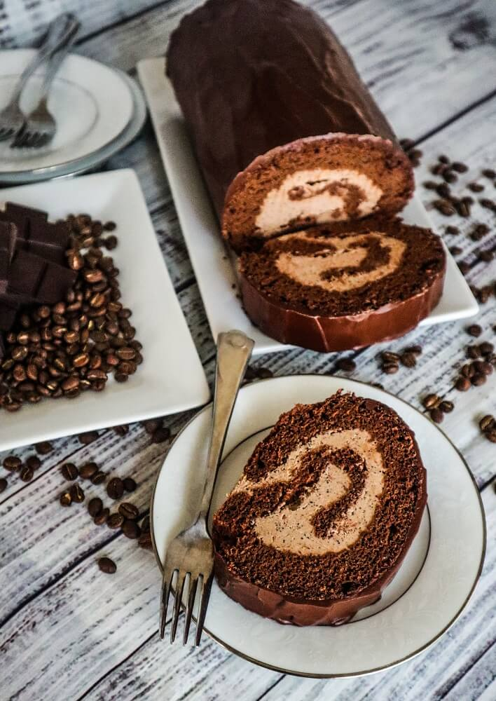 Vegan Mocha Roll Cake