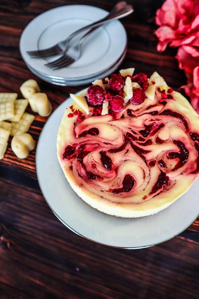Vegan White Chocolate Mango Raspberry Cheesecake