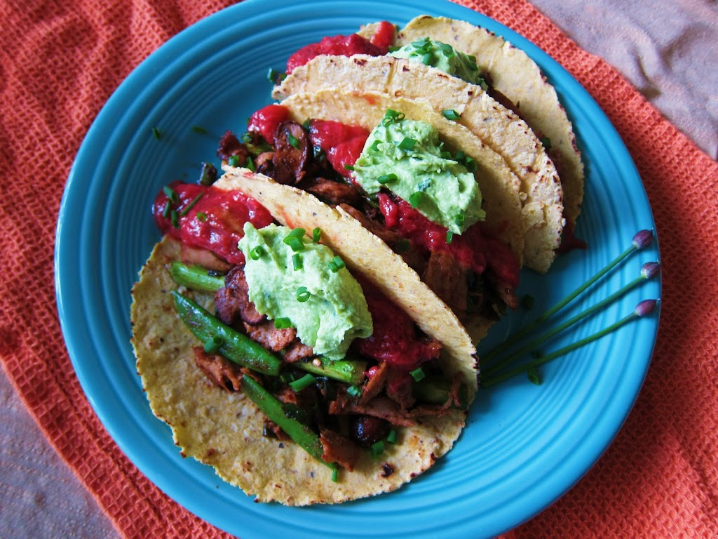 Spring Vegetable Fajitas with Strawberry Rhubarb Chipotle Sauce and Chive Guacamole