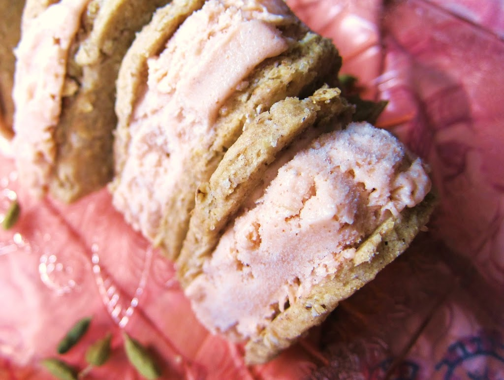 Rhubarb Cardamom Oatmeal Cookie Ice Cream Sandwiches