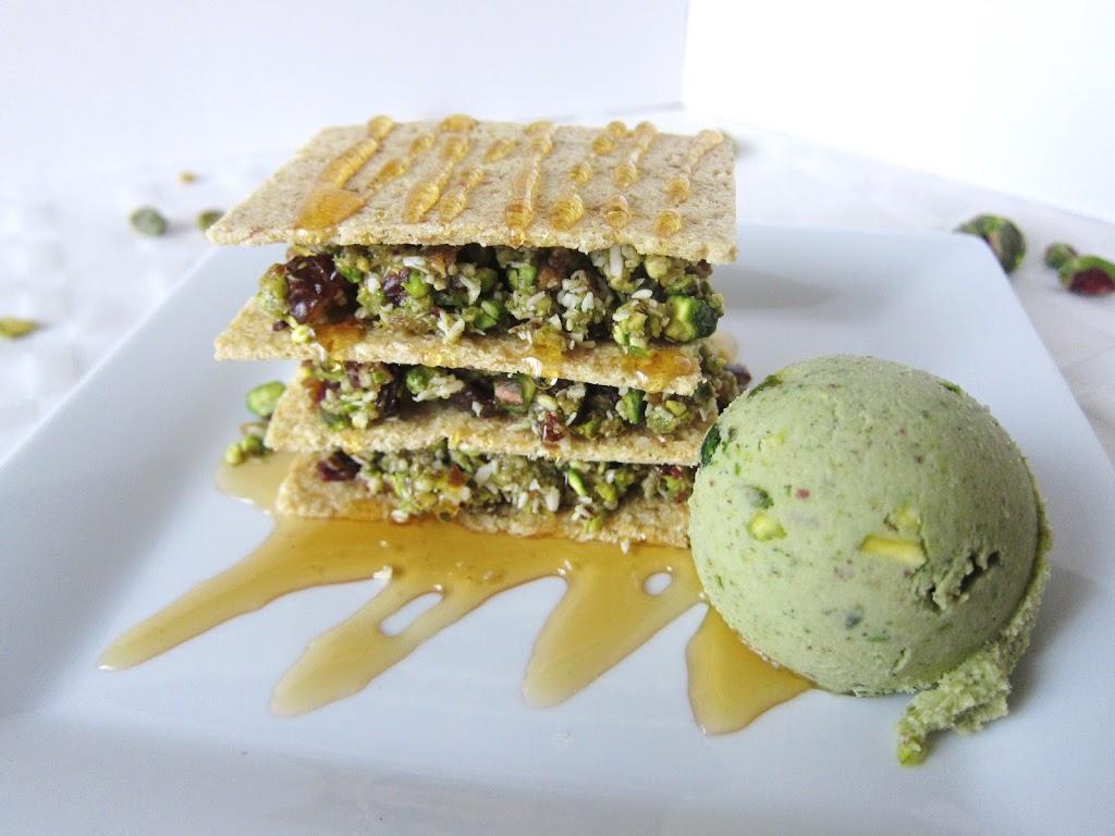 Raw Pistachio Baklava with Pistachio Ice Cream