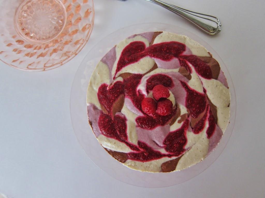 Raw Chocolate and Vanilla Raspberry Swirl Cheesecake