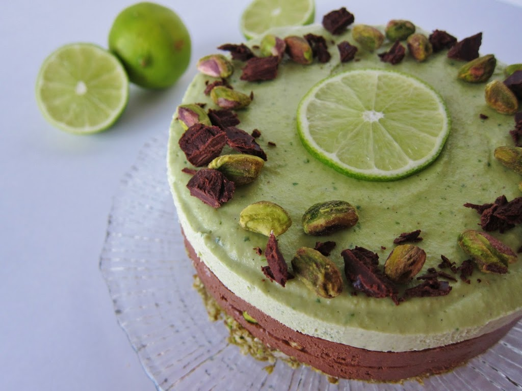Raw Lime Dark Chocolate Pistachio Cheesecake