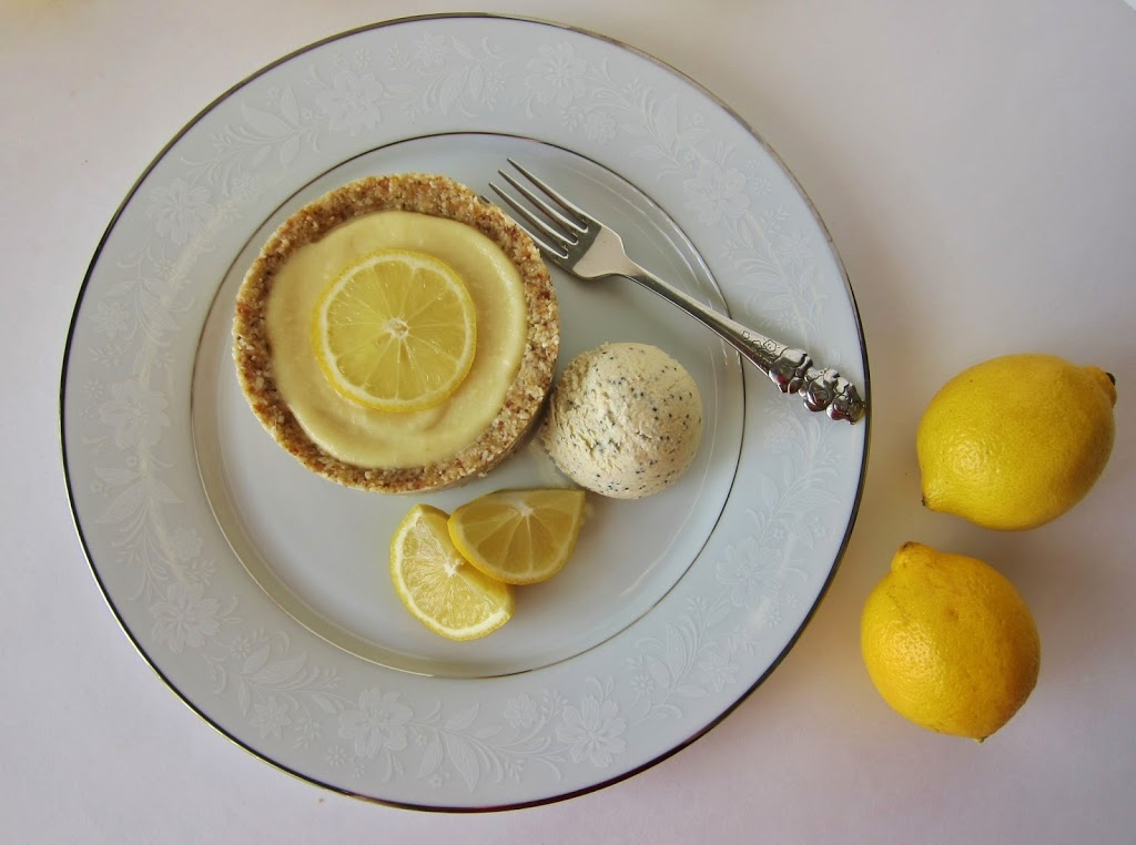 Raw Little Lemon Tart with Lemon Almond Poppy Seed Ice Cream