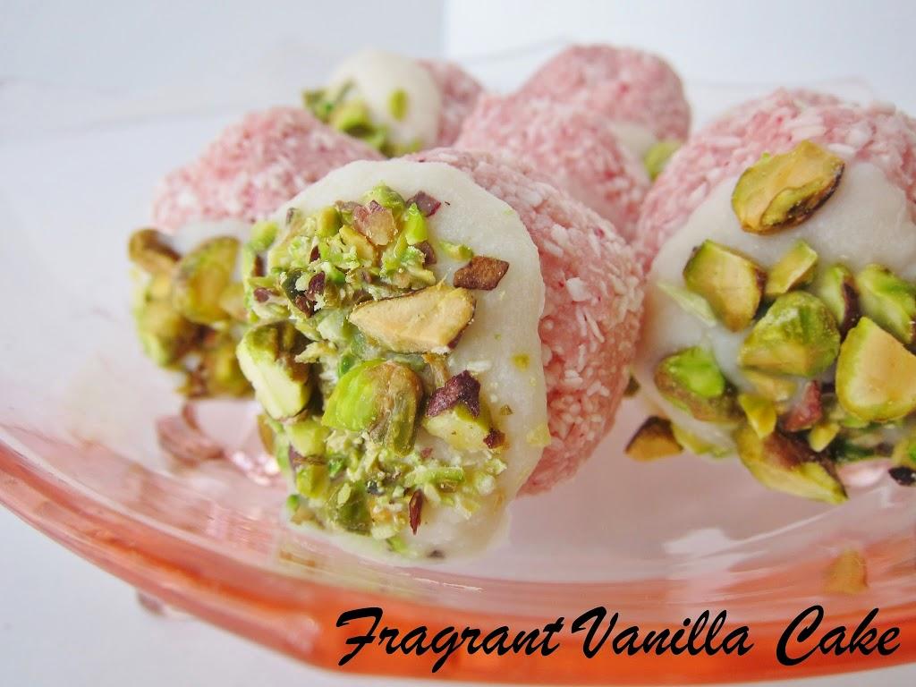 Raw Coconut Rose Pistachio Macaroons | Fragrant Vanilla Cake