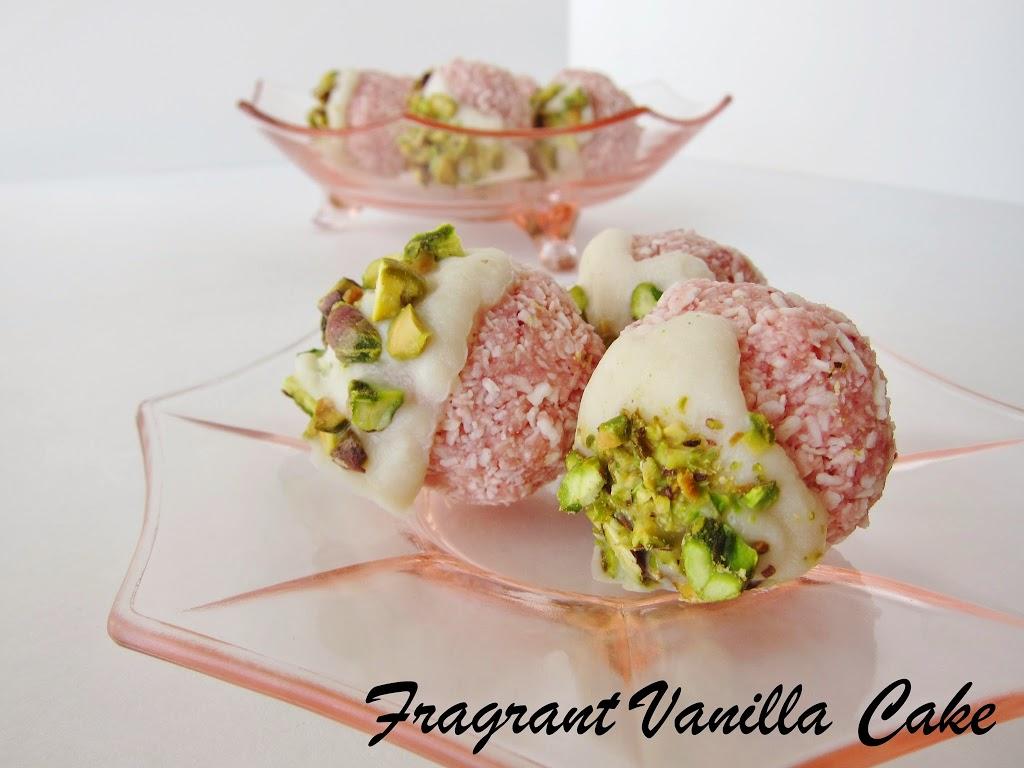 Raw Coconut Rose Pistachio Macaroons