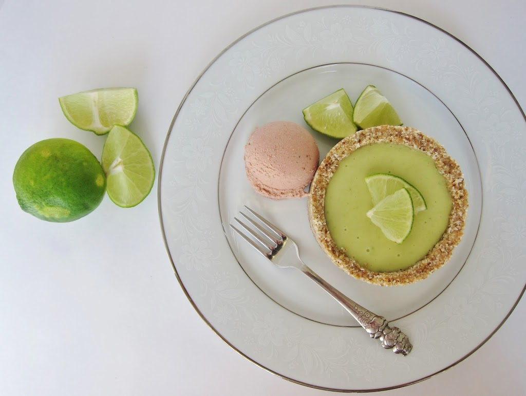 Raw Little Key Lime Tart with Strawberry Lime Ice Cream