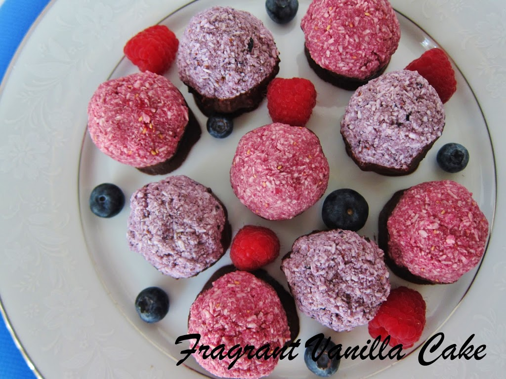 Red and Blue Berry Coconut Macaroons