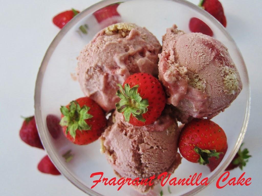 Raw Strawberry Shortcake Ice Cream