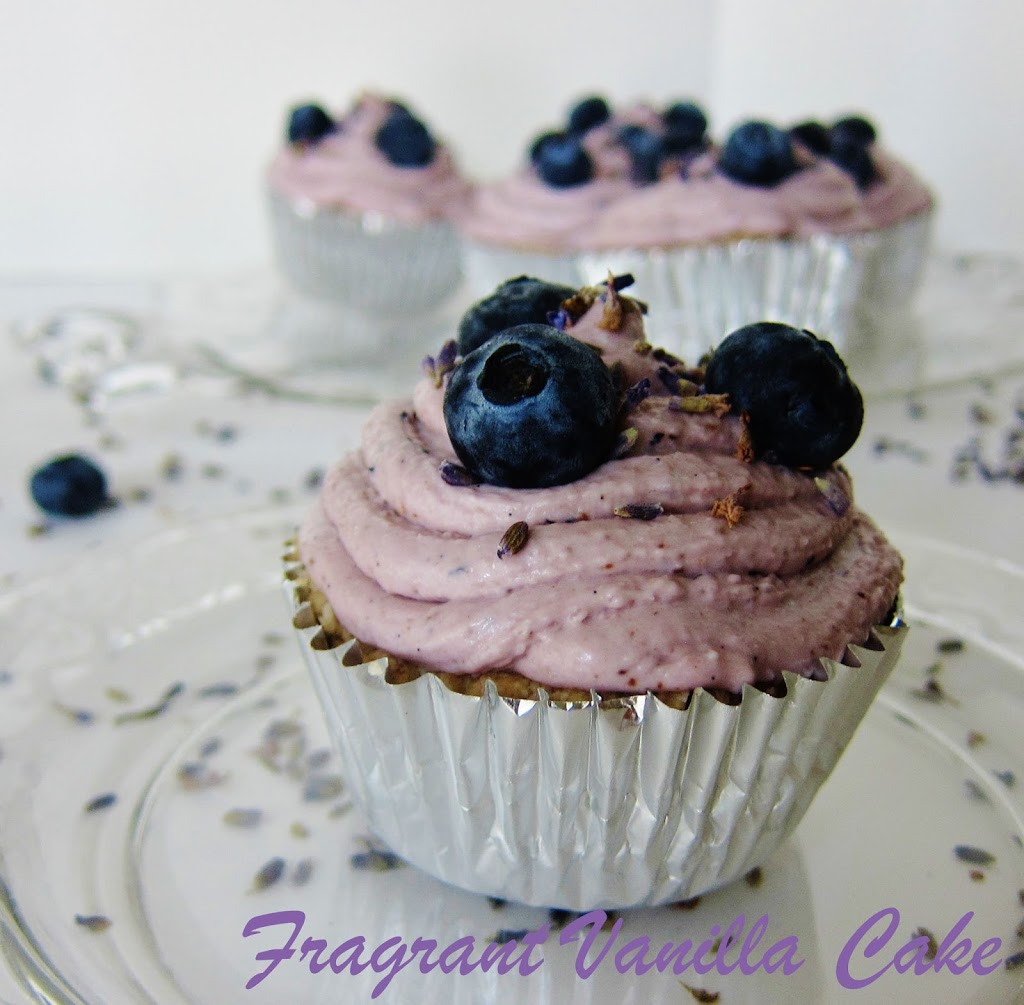 Raw Blueberry Lavender Filled Cupcakes