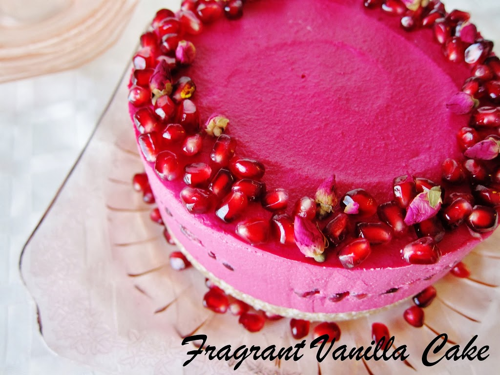 Raw Rose Pomegranate Dream Cake