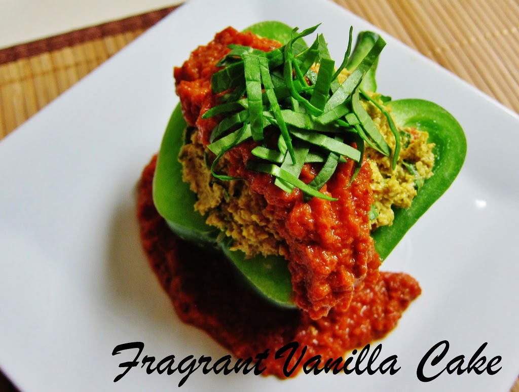 Raw Polenta Stuffed Bell Peppers