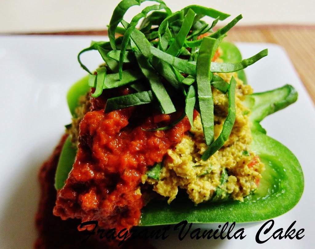 Raw Polenta Stuffed Bell Peppers | Fragrant Vanilla Cake