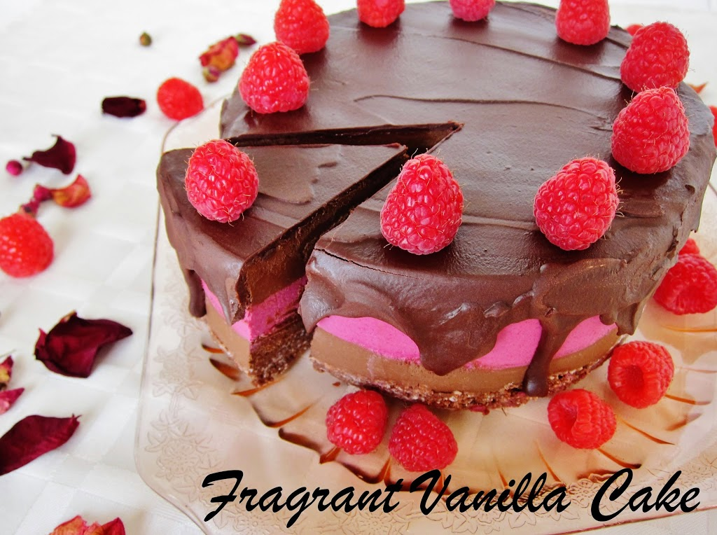 Raw Dark Chocolate Raspberry Truffle Cake
