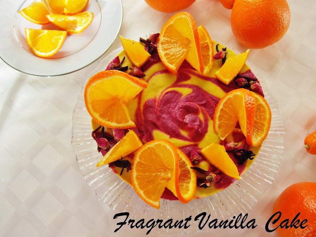 Raw Tangerine Hibiscus Cake