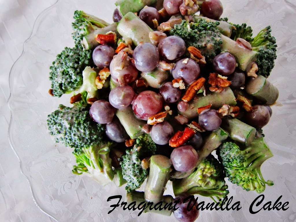 Raw Sweet Broccoli Asparagus Pecan Salad