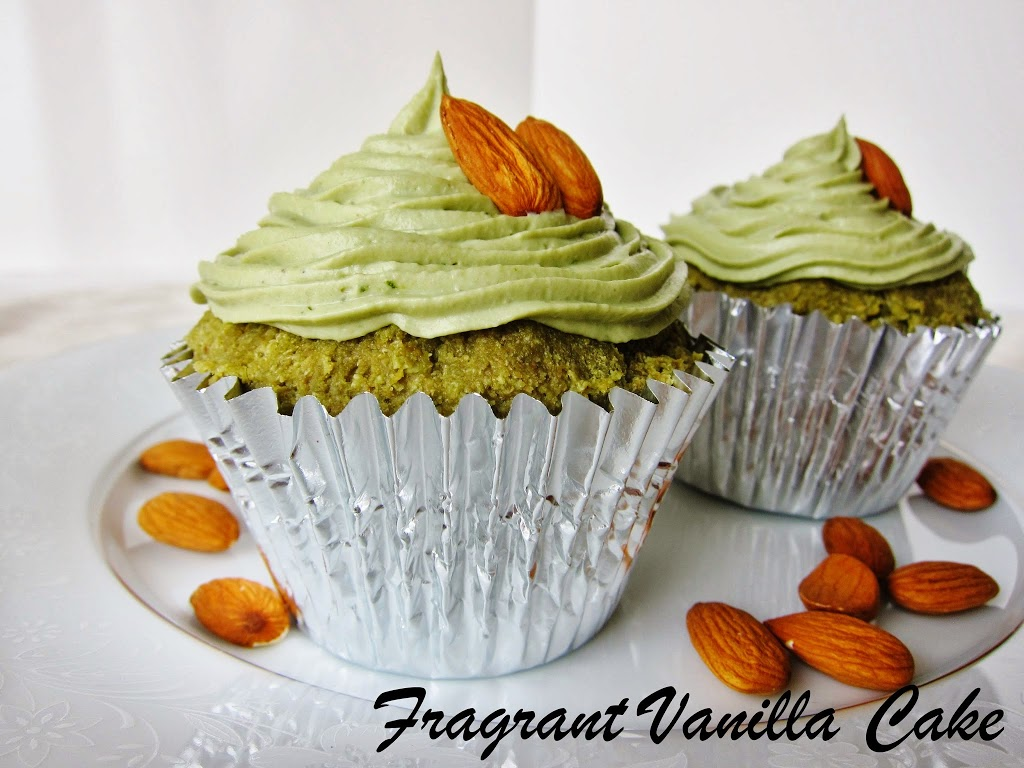 Raw Green Tea Almond Cupcakes