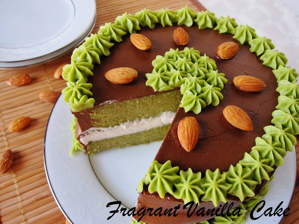 Raw Matcha Almond Dark Chocolate Layer Cake
