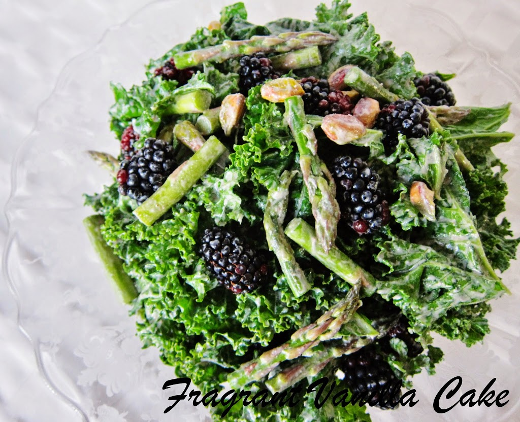 Raw Spring Kale, Asparagus and Blackberry Salad