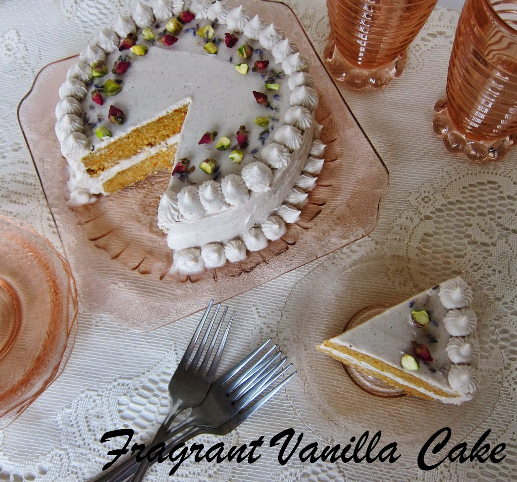 Raw Cardamom Scented Carrot Cake with Rosewater Vanilla Coconut Frosting