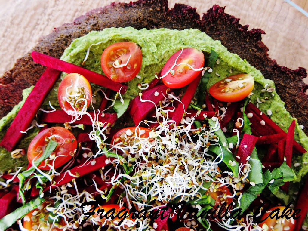 Raw Beetza with Avocado Pesto