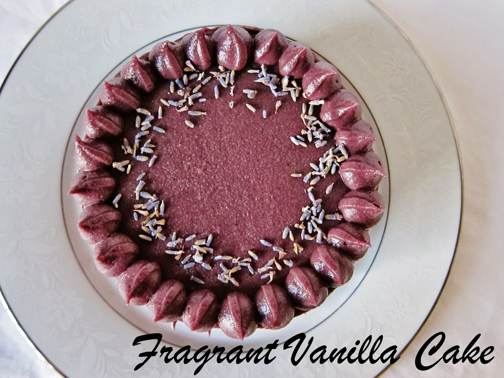 Little Raw Chocolate Cake with Blueberry Lavender Frosting