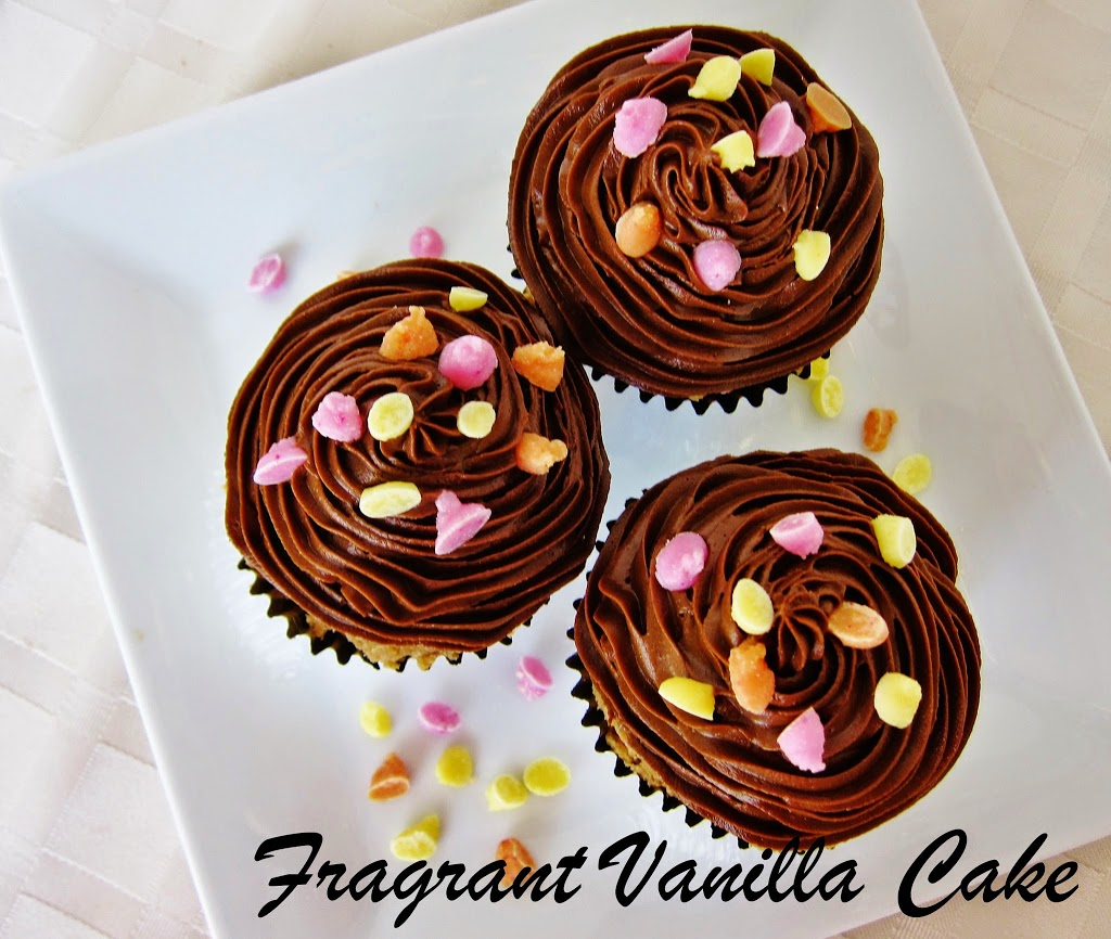 Raw Vanilla Sprinkle Cupcakes with Chocolate Fudge Frosting
