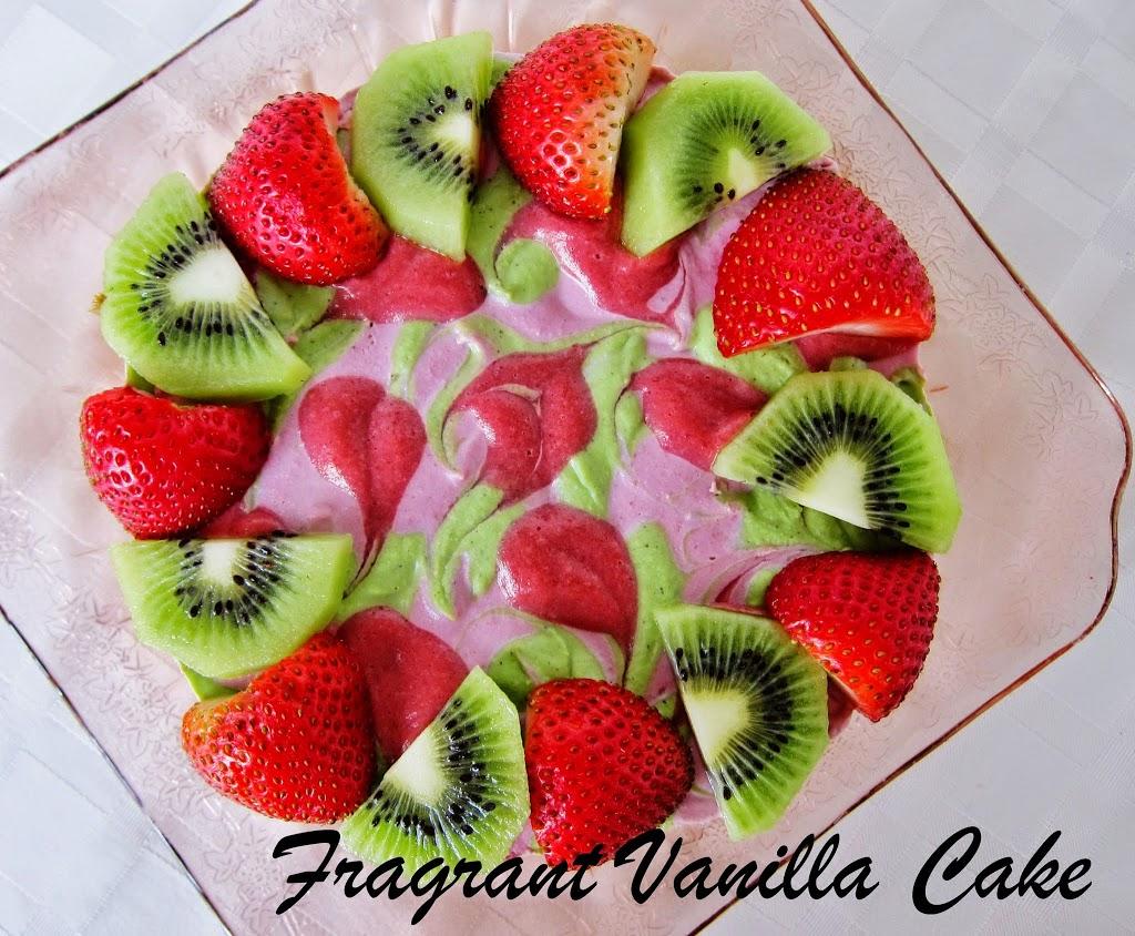 Raw Strawberry Kiwi Coconut Yogurt Cake