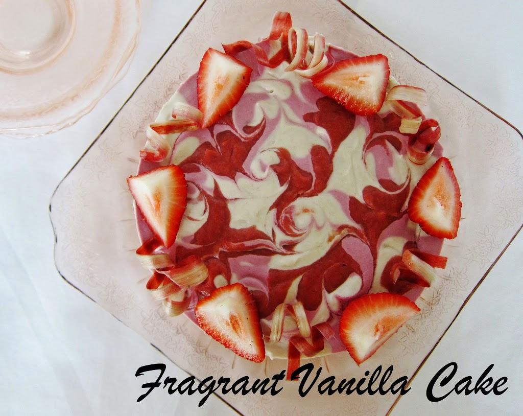 Raw Strawberry Rhubarb Cake