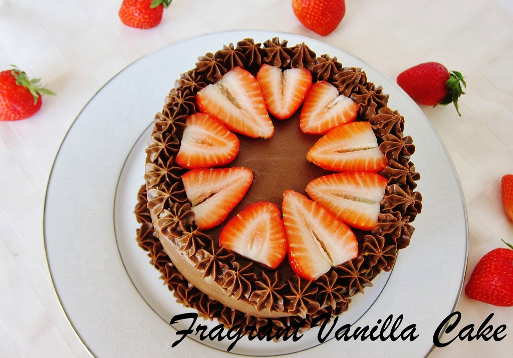 Raw Marbled Chocolate Strawberry Cake