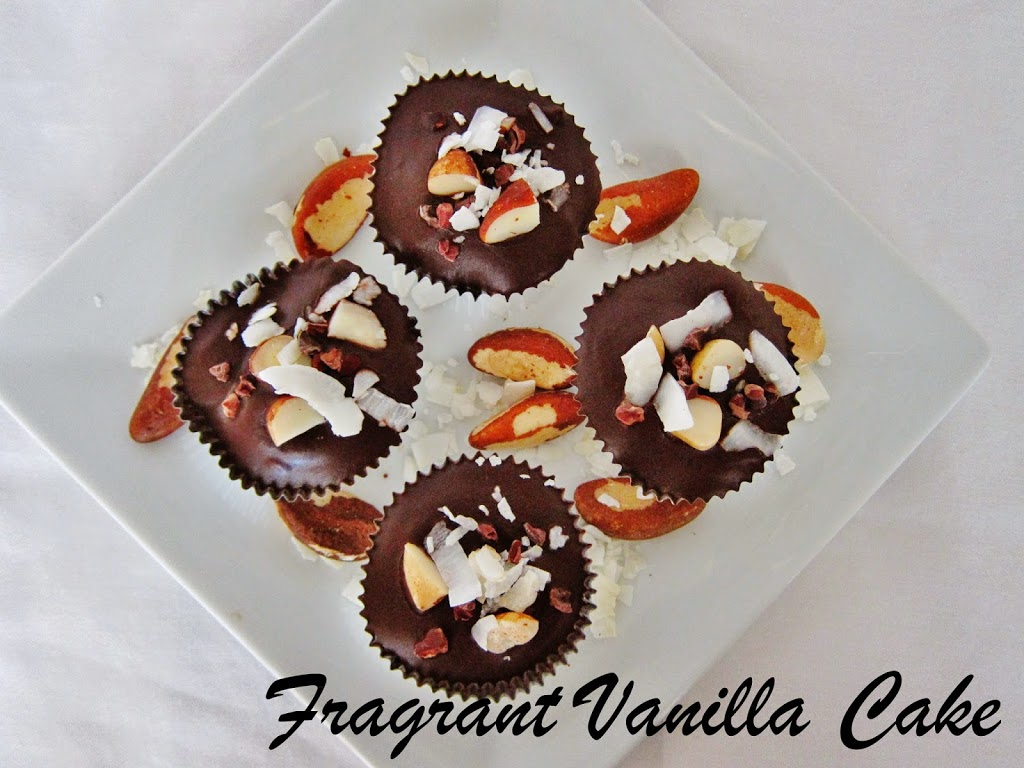Raw Brazil Nut Coconut Cacao Cups | Fragrant Vanilla Cake