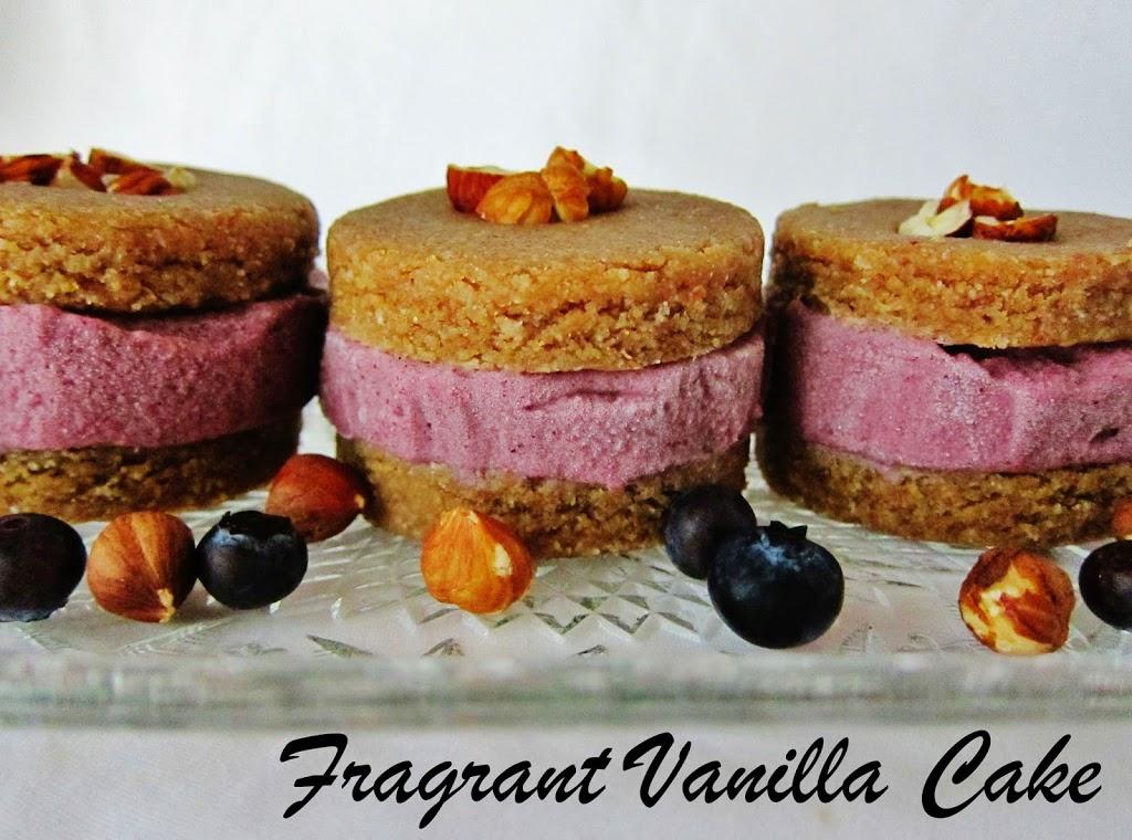 Raw Hazelnut Butter Cookie Ice Cream Sandwiches with Blueberry Rhubarb Ice Cream