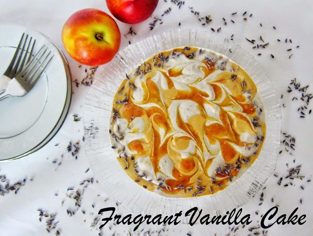Raw Nectarine Lavender Coconut Yogurt Cake
