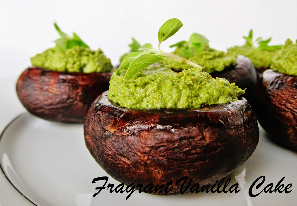 "Raw Pesto Stuffed ""Roasted"" Mushrooms"