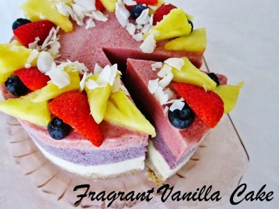 Raw Piña colada Berry Ice Cream Cake | Fragrant Vanilla Cake