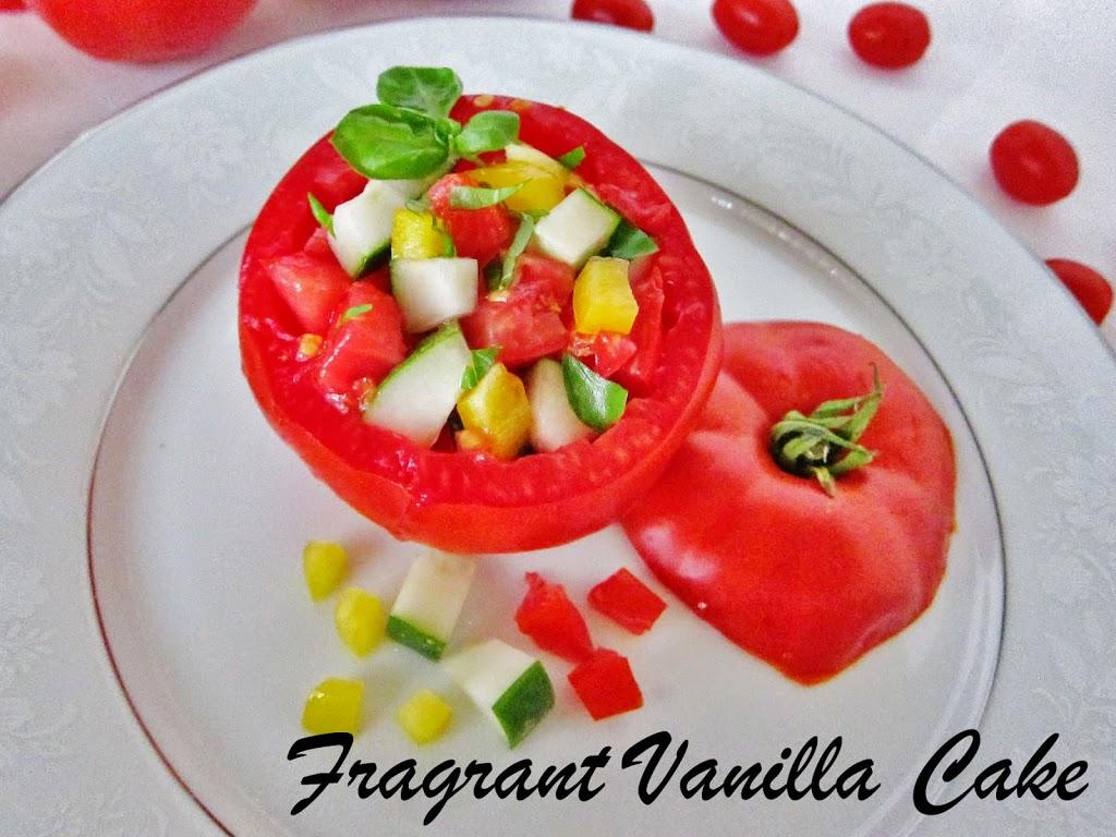 Gazpacho Salad Stuffed Tomatoes