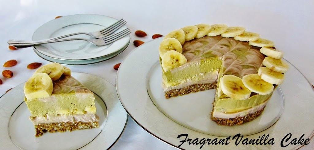 Raw Banana Matcha Almond Cheesecake