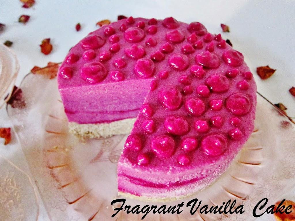 Raw Dragonberry Rose Ice Cream Cake | Fragrant Vanilla Cake