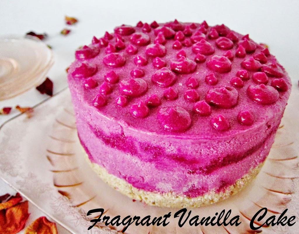 Raw Dragonberry Rose Ice Cream Cake