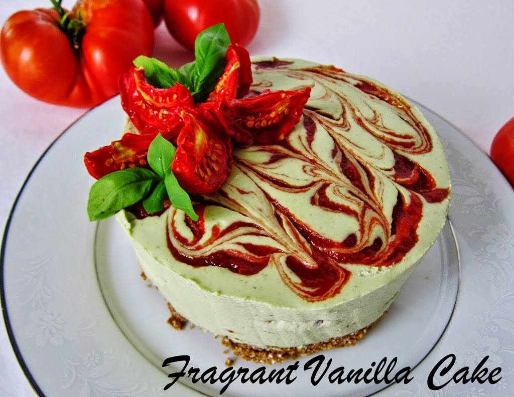 Raw Tomato Basil Cheesecake