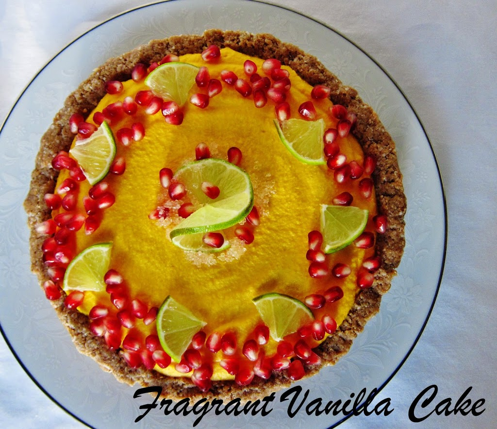 Raw Sweet Potato Ginger Lime Tart with Pomegranate Seeds