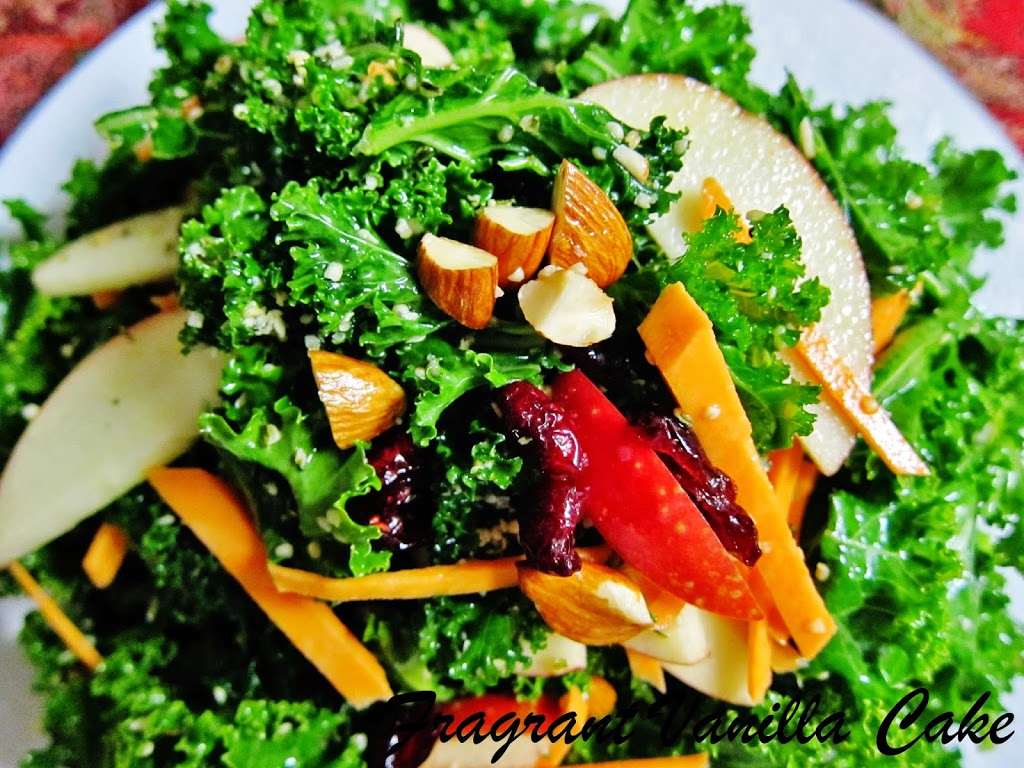 Raw Yam, Apple and Kale Salad
