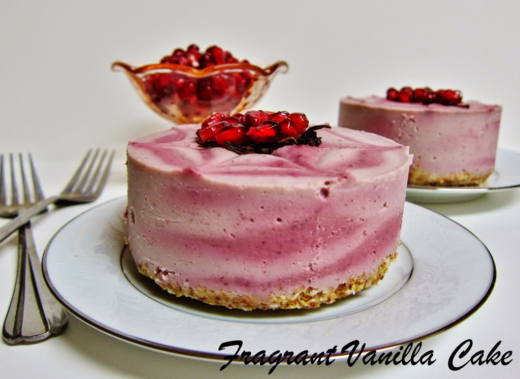 Mini Raw Pomegranate Hibiscus Yogurt Cheesecakes