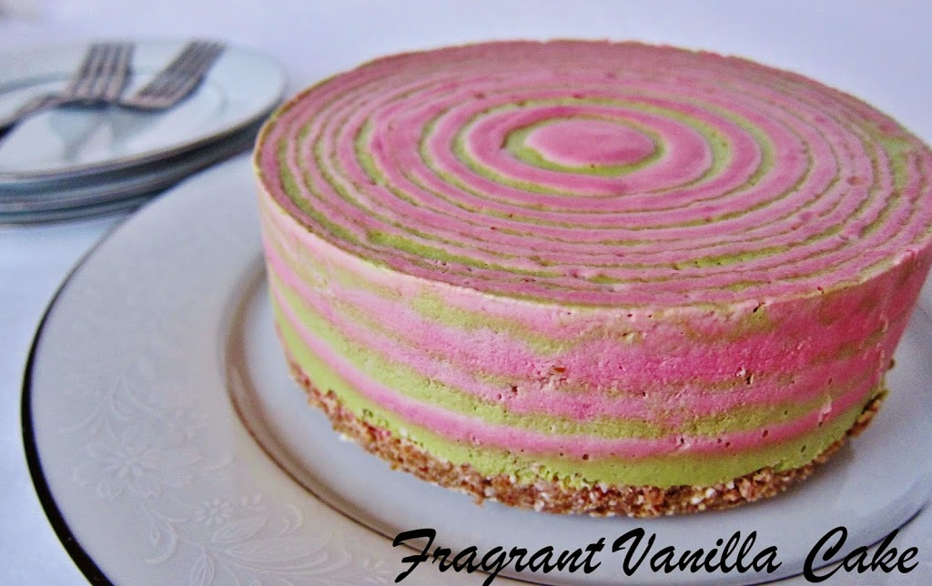 Raw Peppermint Striped Cheesecake