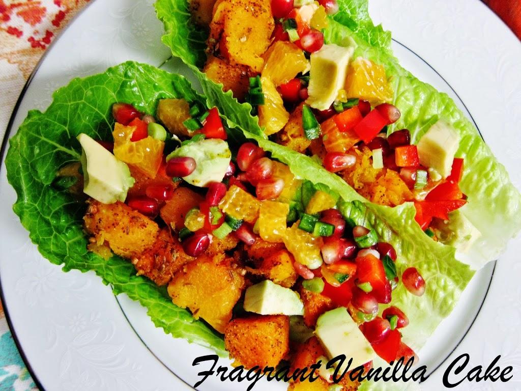 Roasted Squash Tacos with Orange Pomegranate Salsa