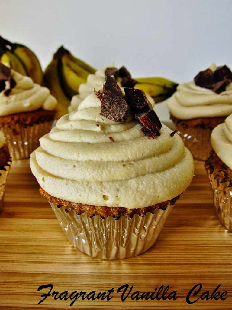 Vegan Peanut Butter Banana Chocolate Chunk Cupcakes
